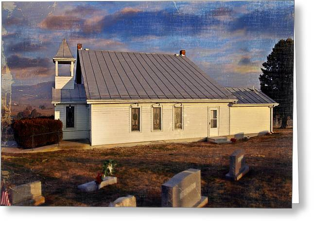 An Evening At Mcelwee Chapel Greeting Card by Kathy Jennings