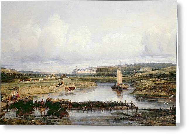 An Extensive River Landscape With A View Of The Chateau D'amboise Greeting Card by Victor-Marie-Felix Danvin