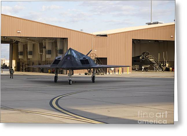 An F-117 Nighthawk Taxis Greeting Card by HIGH-G Productions