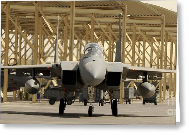 An F-15 Eagle Taxis Prior To A Training Greeting Card by Stocktrek Images