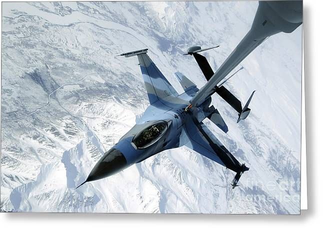 An F-16 Aggressor Sits In Contact Greeting Card