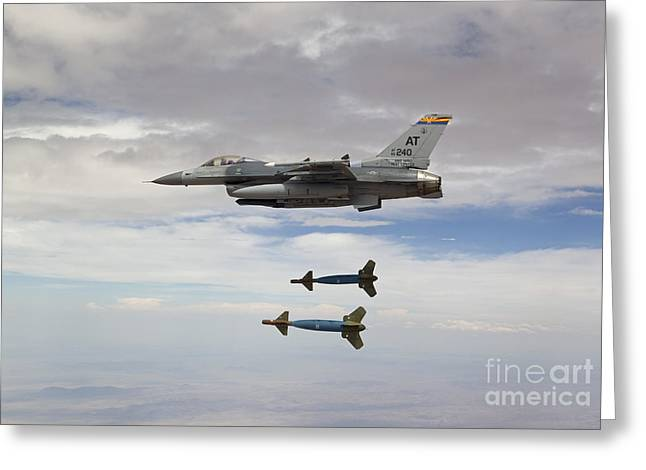 An F-16 Fighting Falcon Releases Two Greeting Card