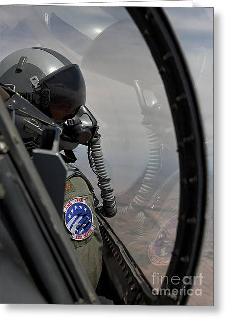 An F-16 Pilot Checks The Position Greeting Card by HIGH-G Productions