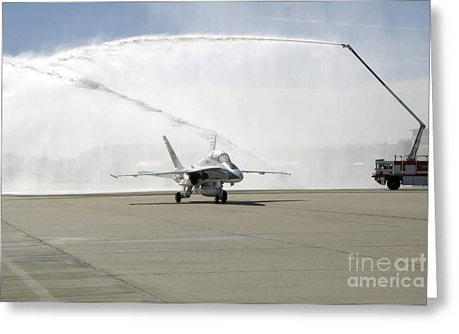 An F-18 Aircraft Taxies Greeting Card by Stocktrek Images