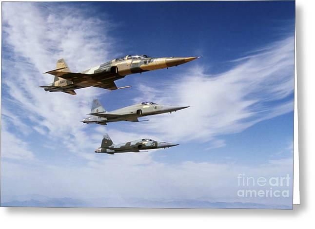 An F-5f Tiger II Leads Two F-5es Greeting Card