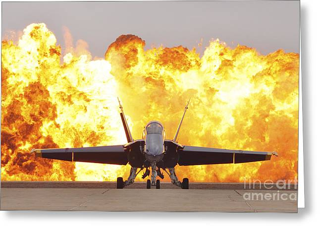 An Fa-18 Hornet Sits On The Flight Line Greeting Card by Stocktrek Images