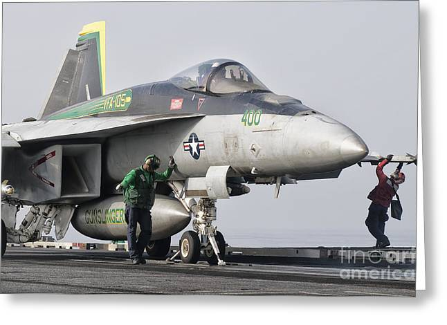 An Fa-18 Super Hornet Is Ready Greeting Card by Giovanni Colla