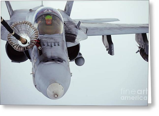 An Fa-18 Super Hornet Receives Fuel Greeting Card by Stocktrek Images