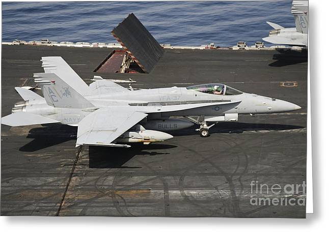 An Fa-18c Hornet Sits Ready Greeting Card