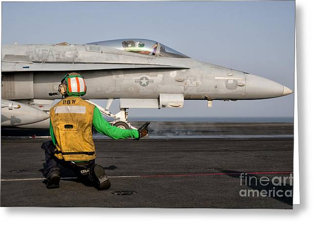 An Fa-18c Is Ready To Launch Greeting Card