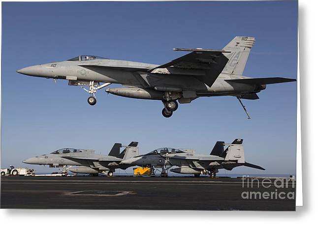 An Fa-18e Super Hornet Comes In For An Greeting Card by Gert Kromhout
