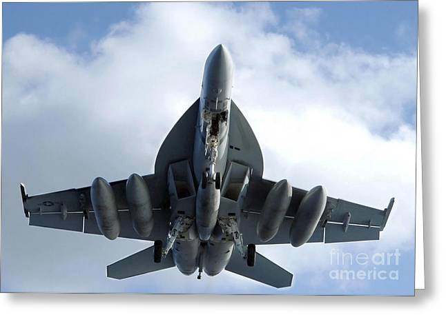 An Fa-18f Super Hornet In Flight Greeting Card by Stocktrek Images