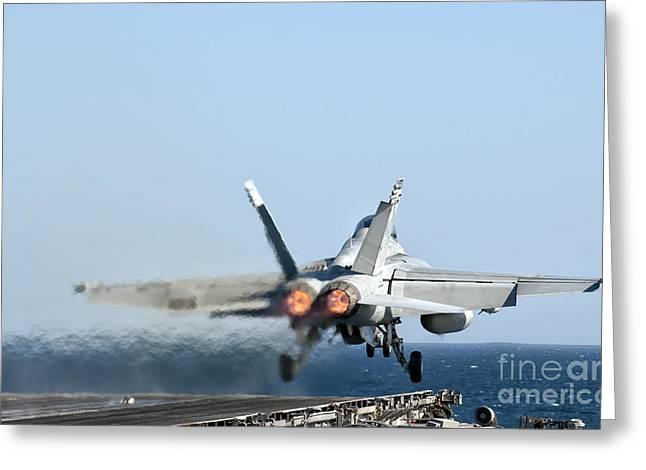 An Fa-18f Super Hornet Launches Greeting Card