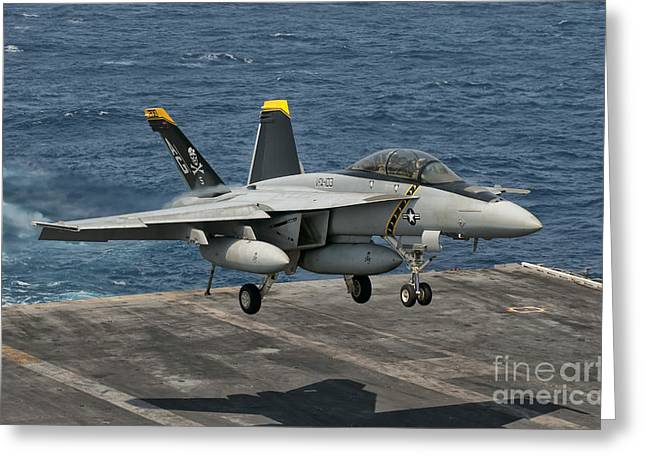 An Fa-18f Super Hornet Prepares To Land Greeting Card
