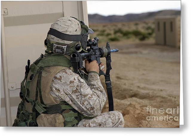 An Infantry Scout Sights-in Greeting Card by Stocktrek Images