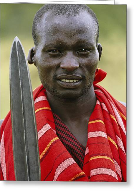 An Informal Portrait Of A Masai Warrior Greeting Card by Michael Melford