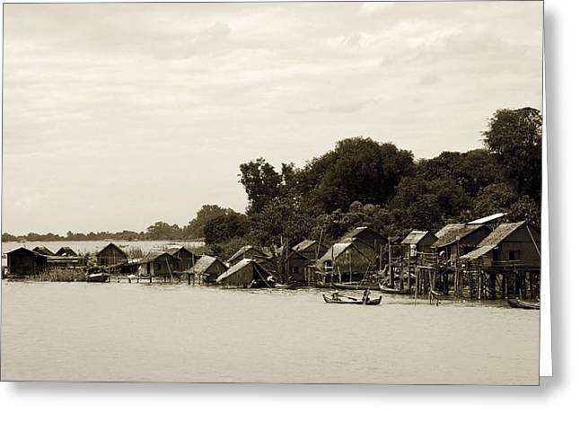 An Island Village On River Irrawaddy Greeting Card by RicardMN Photography
