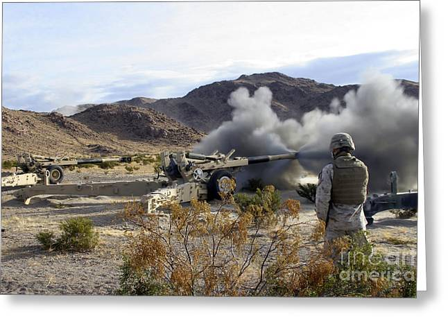 An M198 Howitzer Fires A 155-millimeter Greeting Card by Stocktrek Images