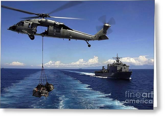An Mh-60s Knighthawk Transports Cargo Greeting Card
