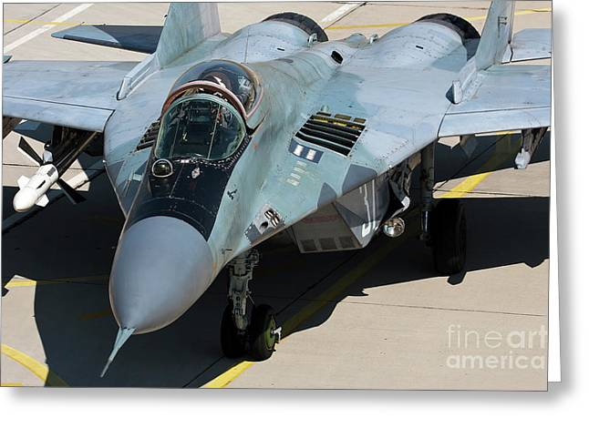 An Mig-29 Aircraft With One Aa-10 Alamo Greeting Card by Anton Balakchiev