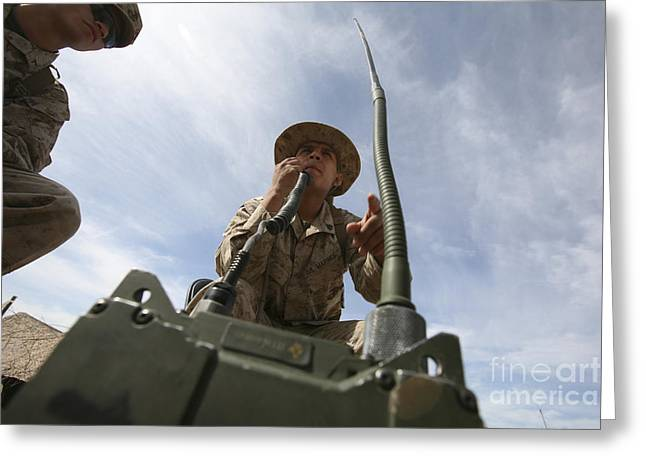 An Officer Conducts A Radio Check Greeting Card by Stocktrek Images