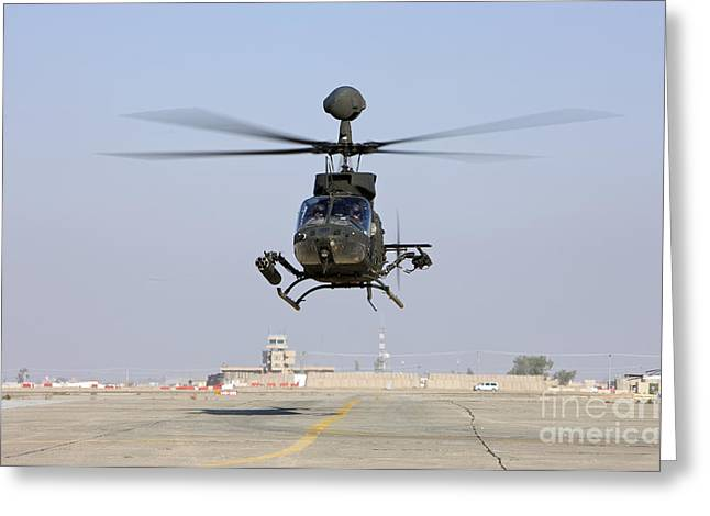 An Oh-58d Kiowa Warrior Hovers Greeting Card by Terry Moore