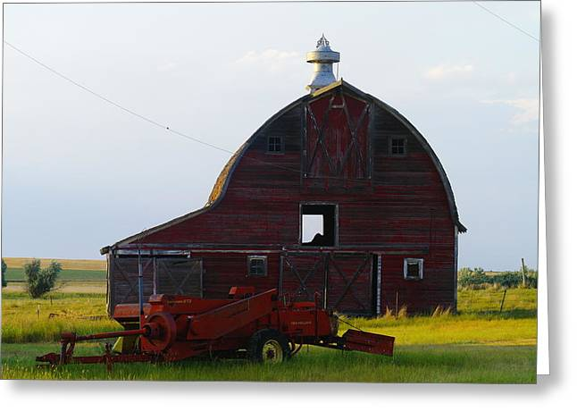 an old barn and bailor in Eastern Montana Greeting Card by Jeff Swan