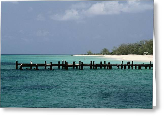An Old Pier Of Grand Turk Island Greeting Card by Wolcott Henry