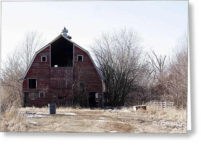 An Old Red Barn Greeting Card by Yumi Johnson
