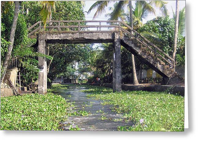 An Old Stone Bridge Over A Canal In Alleppey Greeting Card by Ashish Agarwal