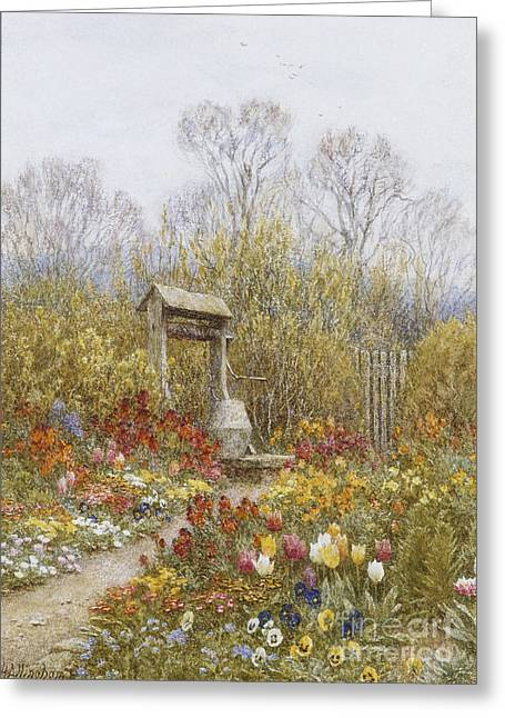 An Old Well Brook Surrey Greeting Card by Helen Allingham