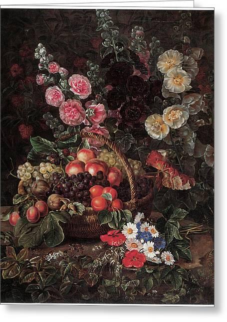 An Opulent Floral Still Life With Fruit Greeting Card by Johan Laurentz Jensen