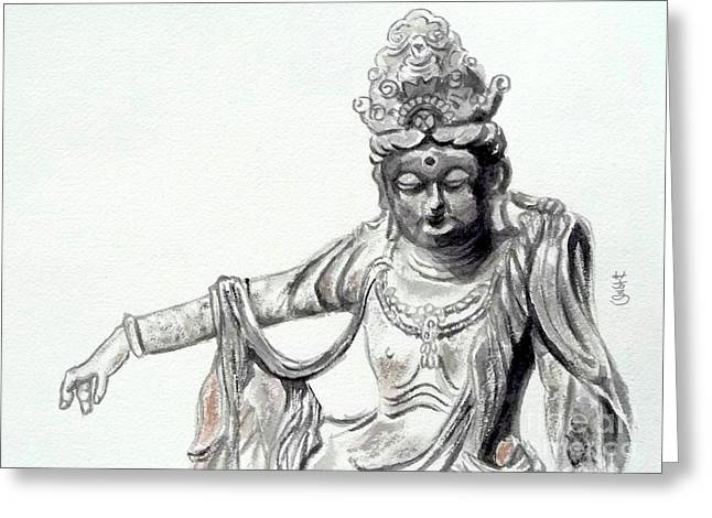 Greeting Card featuring the painting An Oriental Statue At Toledo Art Museum - Ohio- 2 by Yoshiko Mishina