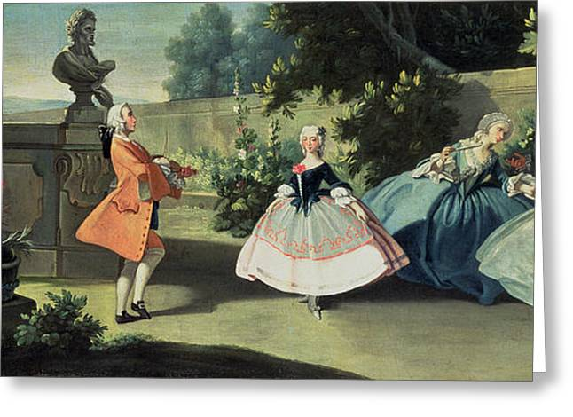 An Ornamental Garden With A Young Girl Dancing To A Fiddle Greeting Card by Filippo Falciatore