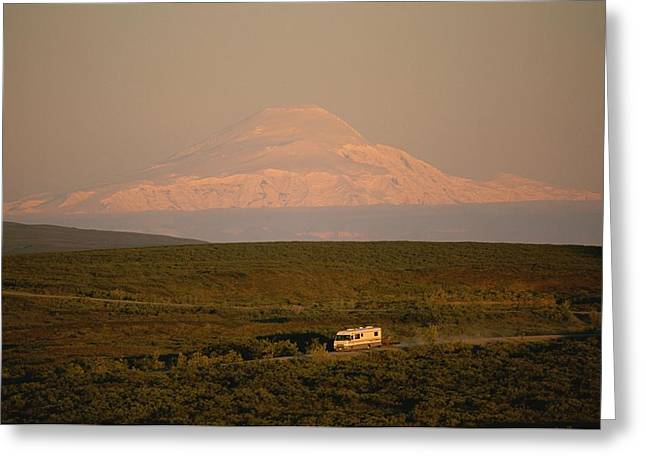 An Rv Rumbles Over The Denali Highway Greeting Card