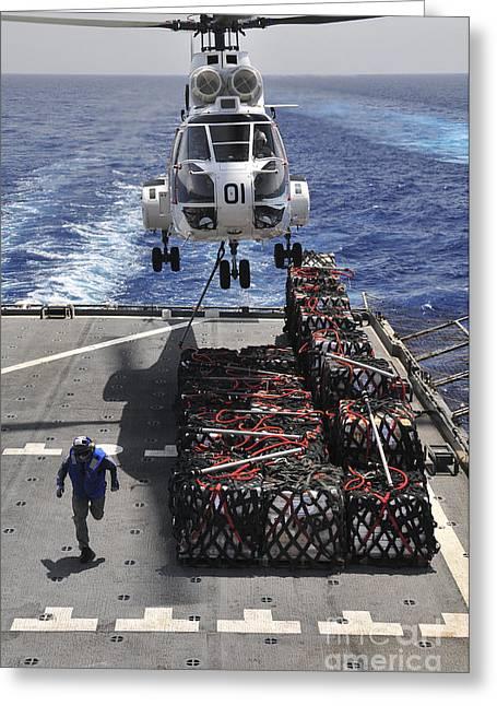 An Sa-330j Puma Helicopter Picking Greeting Card