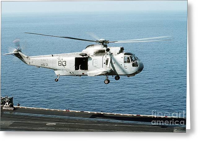 An Sh-3h Sea King Helicopter Prepares Greeting Card