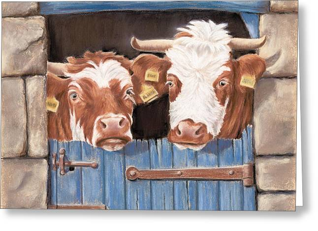 An Udder Fine Mess Greeting Card by Vanda Luddy