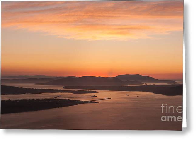 Anacortes Islands Sunset Greeting Card by Mike Reid