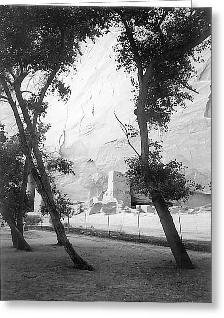 Anasazi Ruins Canyon De Chelly B W 1993 Greeting Card by Connie Fox