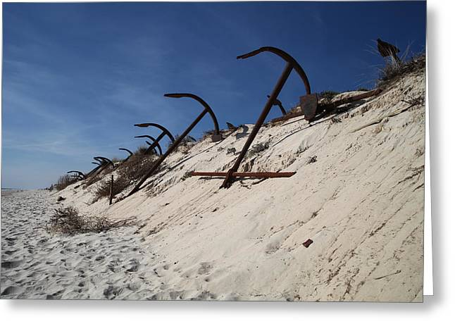 Anchor Beach Greeting Card by Jez C Self