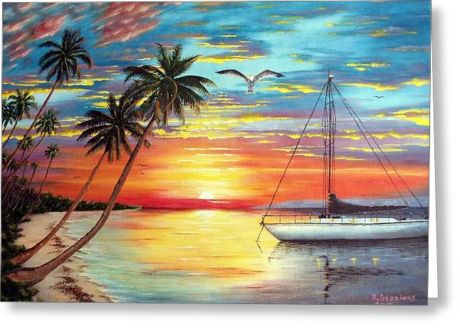 Anchored At Sunset Greeting Card by Riley Geddings