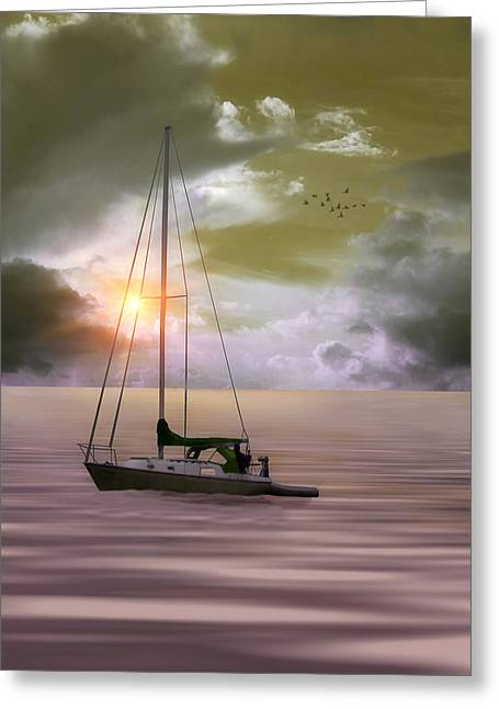 Anchored For The Night Greeting Card by Tom York Images