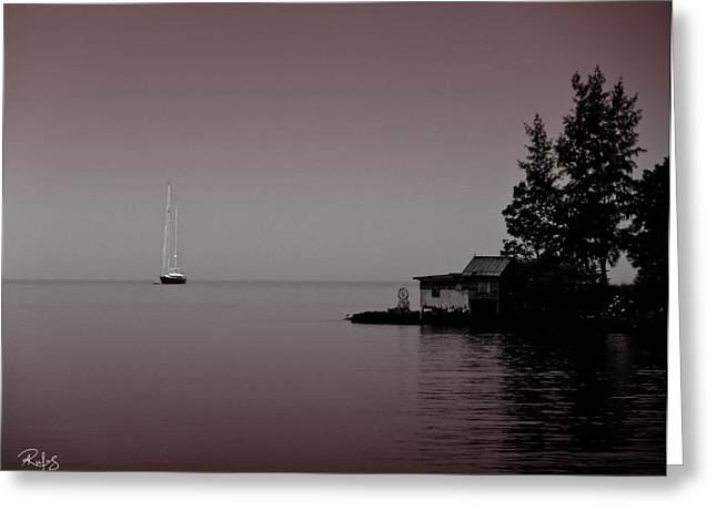 Anchored Near A Temple - Black And White Greeting Card