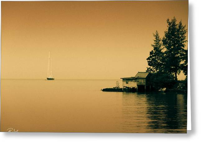 Anchored Near A Temple - Sepia Greeting Card