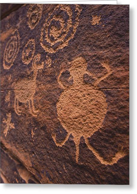 Ancient Anasazi Rock Art On Red Greeting Card by Ralph Lee Hopkins