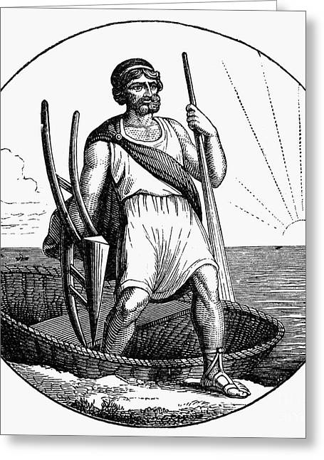 Ancient Briton Coracle Greeting Card by Granger