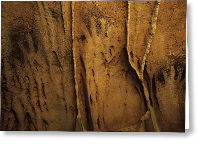 Ancient Negative Handprints Greeting Card by Stephen Alvarez