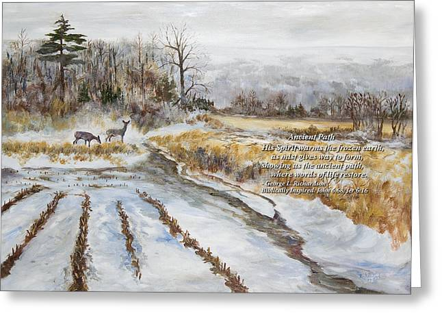 Ancient Path With Poem Greeting Card by George Richardson