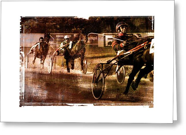 Greeting Card featuring the photograph and the winner is - A vintage processed Menorca trotting race by Pedro Cardona